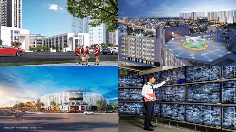 """Cư dân được tận hưởng cuộc sống vẹn tròn tiện ích với """"bộ tứ kim cương"""" hoàn hảo của Vinhomes Smart City (Vinmec, trung tâm thương mại Vincom Mega Mall, Vinschool và Quản lý vận hành Vinhomes)."""