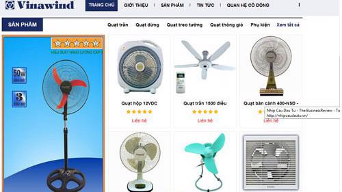Trang web của Công ty Cổ phần Điện cơ Thống Nhất (Vinawind).
