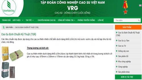 Trang Web của Tập đoàn Công nghiệp Cao su Việt Nam.