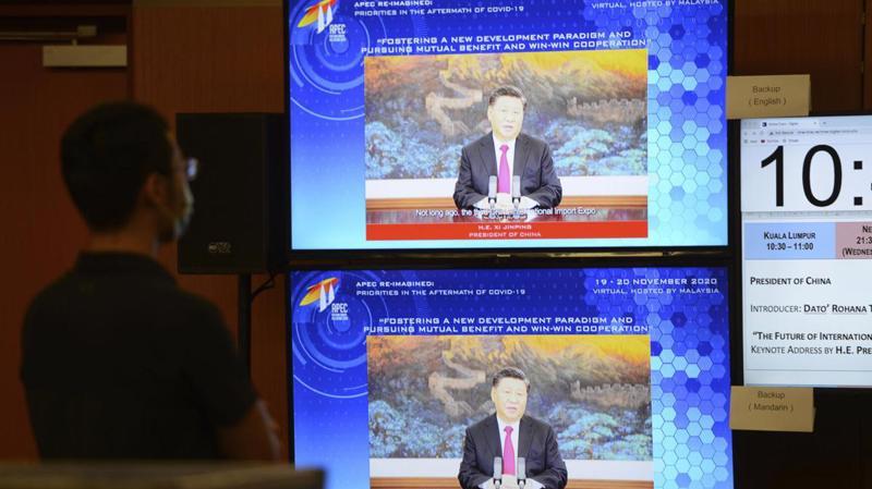Chủ tịch Trung Quốc Tập Cận Bình phát biểu tại Hội nghị Thượng đỉnh Lãnh đạo doanh nghiệp APEC được tổ chức trực tuyến tại Kuala Lumpur, Malaysia, ngày 19/11 - Ảnh: Reuters
