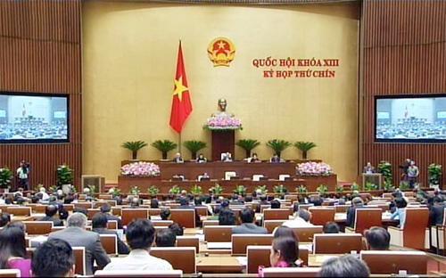Kỳ họp Quốc hội thứ 9 đang diễn ra tại Hà Nội - Ảnh: TT.<br>