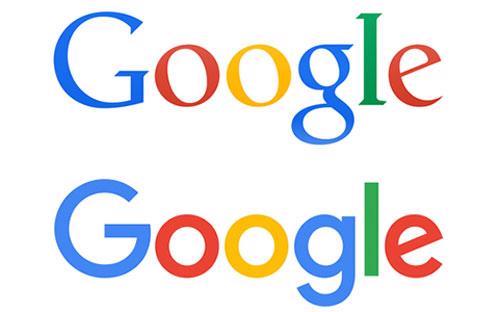 Logo cũ và logo mới (bên dưới) của Google.