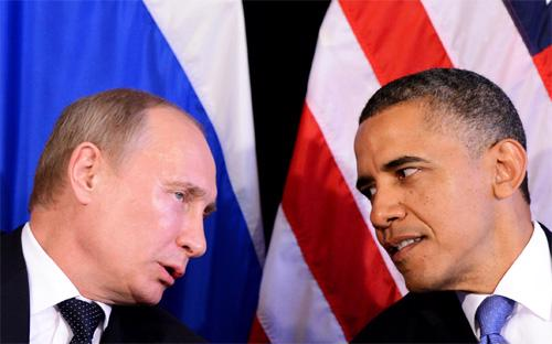 Tổng thống Mỹ Obama trong một lần gặp gỡ Tổng thống Nga Putin. Nga đang bị cáo buộc của Ukraine và phương Tây cho rằng Moscow hậu thuẫn quân nổi dậy.