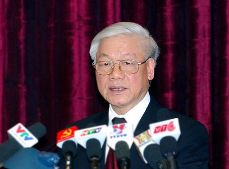 Tổng bí thư Nguyễn Phú Trọng phát biểu bế mạc hội nghị Trung ương 10 - Ảnh: VGP.<br>