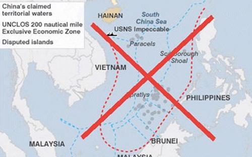 """Bộ Ngoại giao Mỹ nói rằng, tuyên bố chủ quyền của Trung Quốc đối với gần  như toàn bộ biển Đông mà Bắc Kinh đưa ra trong cái gọi là """"đường 9  đoạn"""" là """"không phù hợp với luật pháp quốc tế về biển""""."""