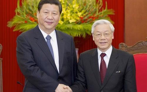 Tổng bí thư Nguyễn Phú Trọng và Chủ tịch Trung Quốc Tập Cận Bình trong chuyến thăm Việt Nam của ông Tập Cận Bình, tháng 12/2011 - Ảnh: TTXVN.