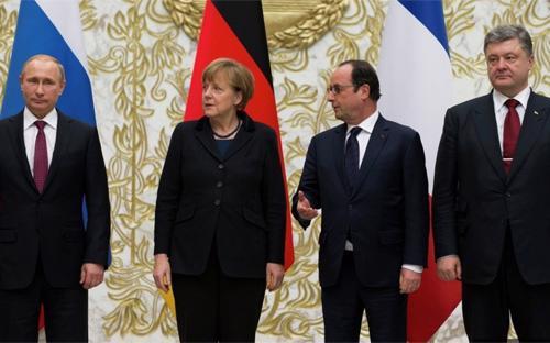 Các nhà lãnh đạo Nga, Ukraine, Pháp và Đức đã công bố một thỏa thuận ngừng bắn, bắt đầu được thực thi vào ngày 15/2 - Ảnh: Sputnik.<br>