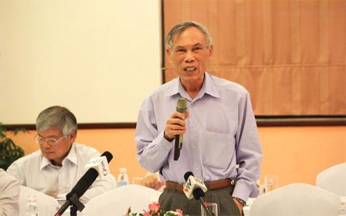 Ông Trương Đình Tuyển phát biểu tại Diễn đàn Kinh tế Mùa xuân 2014 - Ảnh: CK.