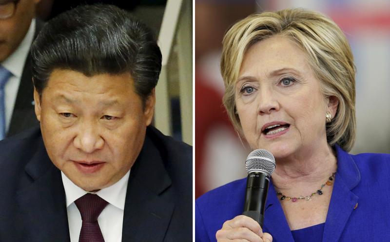 Ứng viên đang tranh cử Tổng thống Mỹ Hillary Clinton (bên phải) đã thẳng thừng lên tiếng chỉ trích Chủ tịch Trung Quốc và thể hiện sự ủng hộ đối với phong trào giải phóng 20 nữ tù nhân (#FreeThe20) trên khắp thế giới.<br>