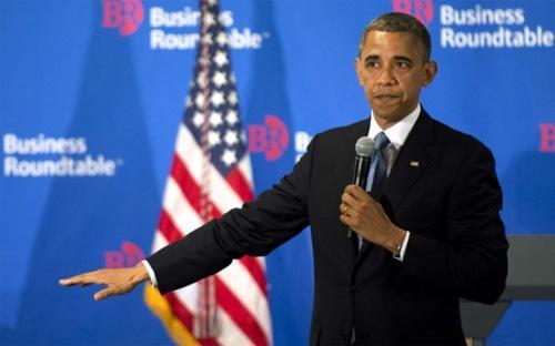Một cuộc gặp của tổ chức Bàn tròn Doanh nghiệp (Business Rountable) với Tổng thống Mỹ Obama. Nhiều giám đốc điều hành thuộc tổ chức này đang lo lắng sẽ bị Nga trả đũa.<br>