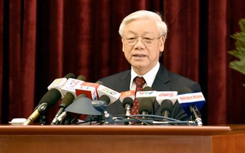 Tổng bí thư Nguyễn Phú Trọng phát biểu bế mạc hội nghị.<br>