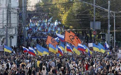 Biểu tình phản đối chiến tranh tại Moscow - Ảnh: SMH.<br>
