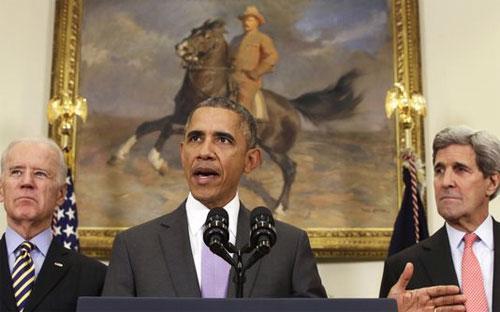 Tổng thống Mỹ Barack Obama phát biểu tại Nhà Trắng ngày 11/2 - Ảnh: AP.<br>