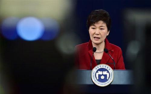 Tổng thống Hàn Quốc Park Geun-hye tại cuộc họp báo ngày 12/1 - Ảnh: Reuters.<br>