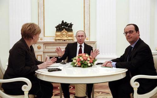 Ba nhà lãnh đạo Đức, Nga và Pháp tại điện Kremlin ngày 6/2 - Ảnh: Reuters.<br>
