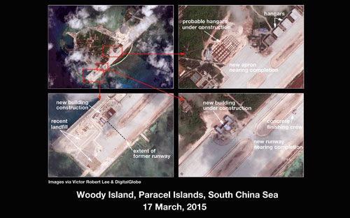 Những bức ảnh của Digital Globe cho thấy hoạt động mở rộng mà Trung Quốc  thực hiện trên đảo Phú Lâm thuộc quần đảo Hoàng Sa của Việt Nam -  Nguồn: Diplomat.