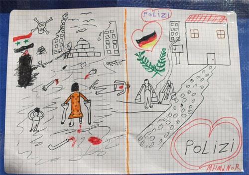 Ảnh chụp bức vẽ của em bé di cư người Syria tặng cảnh sát Đức - Ảnh: WP.<br>