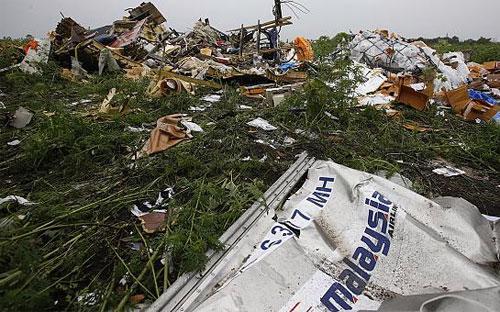 Hiện trường rơi chuyến bay MH17 ở miền Đông Ukraine.<br>