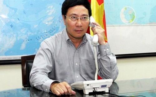 Phó thủ tướng - Bộ trưởng Ngoại giao Phạm Bình Minh điện đàm với Bộ trưởng Ngoại giao Trung Quốc Vương Nghị - Ảnh VGP.