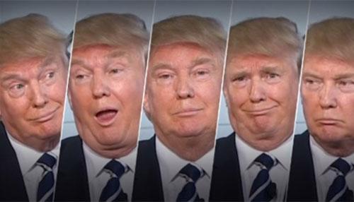 Một số biểu cảm khuôn mặt của Donald Trump khi nghe các đối thủ tranh luận trong buổi tối ngày 16/9 - Ảnh: CNN.<br>
