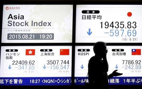 """Các thị trường chứng khoán châu Á từ Nhật Bản tới Malaysia đồng loạt """"đỏ lửa"""" ngay khi mở cửa phiên giao dịch đầu tuần - Ảnh: Reuters.<br>"""
