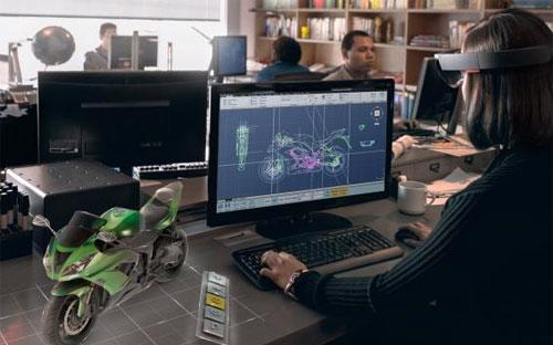 Ảnh từ tài liệu do Microsoft cung cấp về kính 3 chiều HoLoLens.<br>
