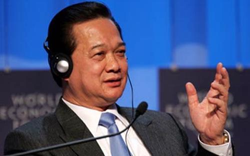 Thủ tướng Chính phủ Nguyễn Tấn Dũng tại một phiên thảo luận của Diễn đàn Kinh tế Thế giới (WEF).<b><br></b>