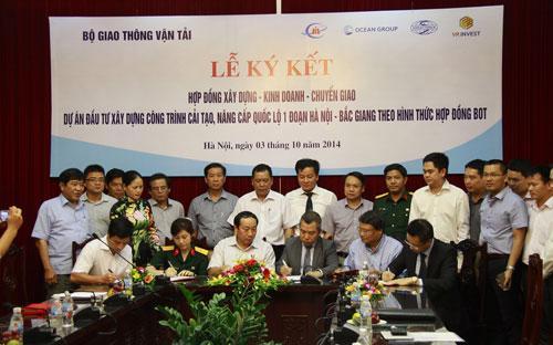 OceanGroup đã chính thức ký hợp đồng dự án cải  tạo nâng cấp quốc lộ 1 đoạn Hà Nội - Bắc Giang với Bộ Giao thông Vận  tải.