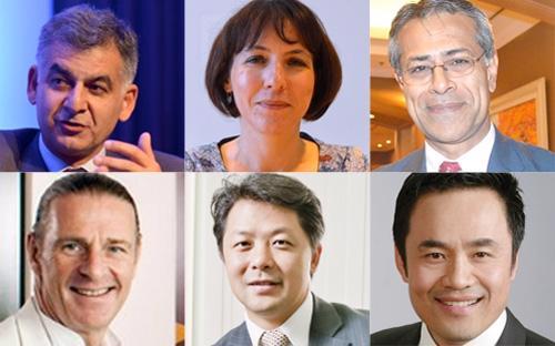 Hàng trên, từ trái sang: ông Nirukt Sapru, bà Wendy Jo Werner, ông Sanjay Kalra. Hàng dưới: ông Dominic Scriven, ông Andy Ho, ông Louis Nguyễn.