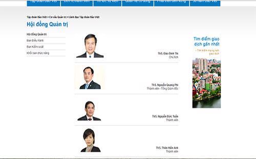 Hội đồng Quản trị của Tập đoàn Bảo Việt.<br>