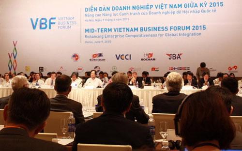 Diễn đàn doanh nghiệp Việt Nam (VBF) 2015 được tổ chức hôm nay.