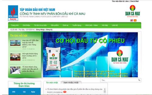 Trang web của Công ty TNHH MTV Phân bón Dầu khí Cà Mau.
