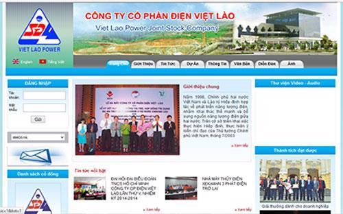 Trang web của Công ty Cổ phần Điện Việt - Lào.<br>