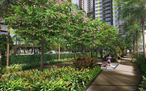 Khu vực nhà mẫu của Vista Verde được thiết kế như một vườm ươm xanh mát,  nhằm đem lại cho cư dân cảm giác đang nghe bản giao hưởng của thiên  nhiên.