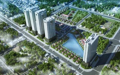 Phối cảnh tổng thể dự án FLC Garden City - một trong những dự án được FLC mua lại với quy mô 5 ha tại Đại Mỗ, Nam Từ Liêm, Hà Nội.<br>