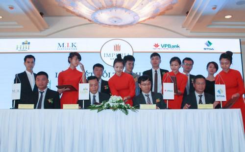 Công ty Cổ phần HBI cũng đã tiến hành lễ ký kết hợp tác chiến lược với  các đối tác: Đơn vị phát triển dự án hàng đầu M.I.K Corporation, VPBank  là ngân hàng bảo trợ tài chính và Hệ thống siêu thị dự án STDA là nhà  phân phối độc quyền dự án.