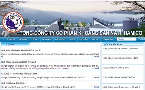 Trang web của Công ty Cổ phần Khoáng sản Na Rì Hamico.