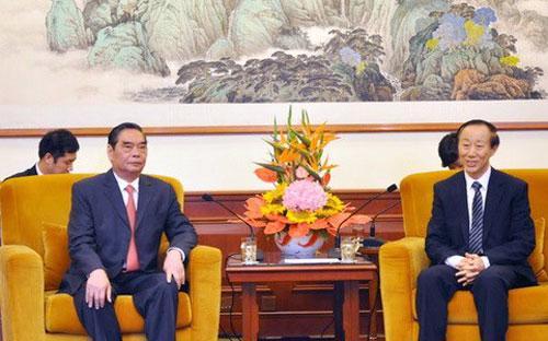 Thường trực Ban Bí thư Lê Hồng Anh tiếp ông Vương Gia Thuỵ, Phó chủ tịch Chính hiệp Toàn quốc, Trưởng ban Liên lạc Đối ngoại Trung ương Trung Quốc, ngày 26/8 - Ảnh: TTXVN.<br>