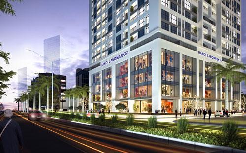 Tại Hanoi LandMark 51 sẽ có thiết kế 4 tầng hầm và 5 tầng đầu làm trung tâm thương mại, siêu thị và các dịch vụ tiện ích.