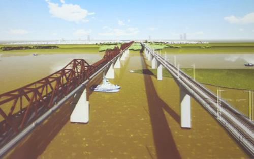 Phương án cách cầu Long Biên 75m là tuyến đi dọc phố Phùng Hưng, sau đó  rẽ phải để chạy dọc trên phố Hàng Đậu sau đó rẽ trái và chạy song song  với cầu Long Biên.