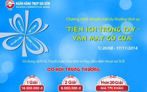 Khi thực hiện thanh toán thành công trong dịp Quốc Khánh 2/9  (từ 28/8 - 4/9/2014) và ngày Phụ nữ Việt Nam 20/10 (từ 16/10 -  22/10/2014), khách hàng sẽ được nhân đôi số lượng dự thưởng.