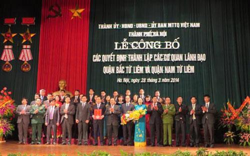 Các cơ quan, chính quyền hai quận Nam - Bắc Từ Liêm sẽ chính thức đi vào hoạt động từ 1/4/2014.<br>