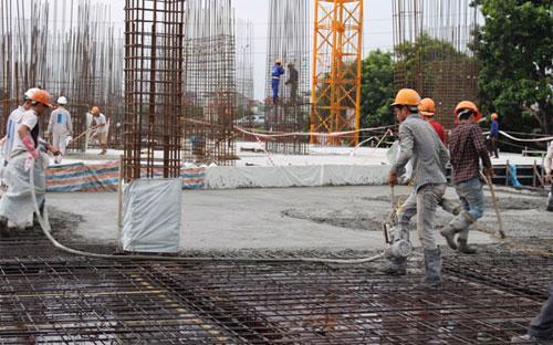 Dự án Hateco Hoàng Mai đang thi công tầng 3.
