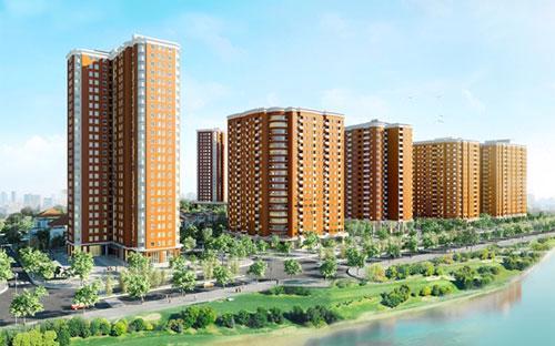 Phối cảnh tổng thể khu đô thị Nghĩa Đô với 5 tòa chung cư CT1A, 1B, 2A, 2B, 2C.