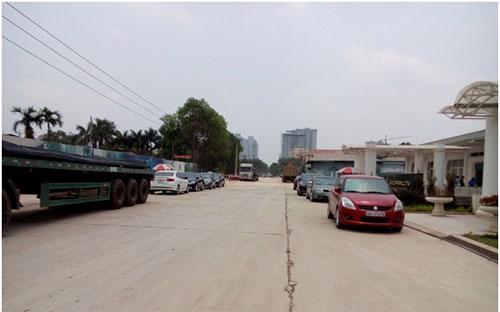 Đường vào dự án rộng 43 m đang được thi công, cập nhật ngày 8/5/2015.