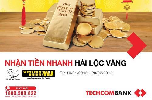 Từ ngày 10/1 đến 28/2/2015, khi chuyển và nhận tiền tại quầy giao  dịch hoặc nhận tiền trên Internet Banking thông qua dịch vụ Western  Union, khách hàng sẽ nhận được 1 mã dự thưởng.