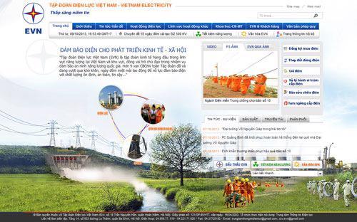 Giao diện trang web evn.com.vn.