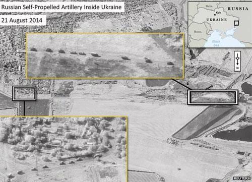 Một bức ảnh NATO công bố ngày 28/8 cho rằng quân Nga đang ở trên lãnh thổ Ukraine - Ảnh: Reuters/BBC.<br>