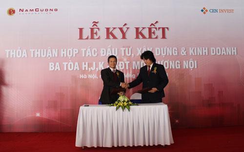 Đại diện CenInvest và Tập đoàn Nam Cường ký thoả thuận hợp tác, ngày 30/12.<br>