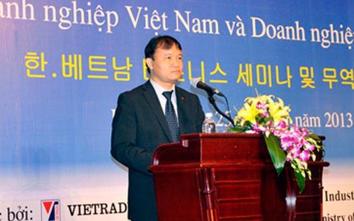 Ông Đỗ Thắng Hải phát biểu trong một hội thảo giao thương doanh nghiệp Việt Nam - Hàn Quốc trong năm 2013.<br>
